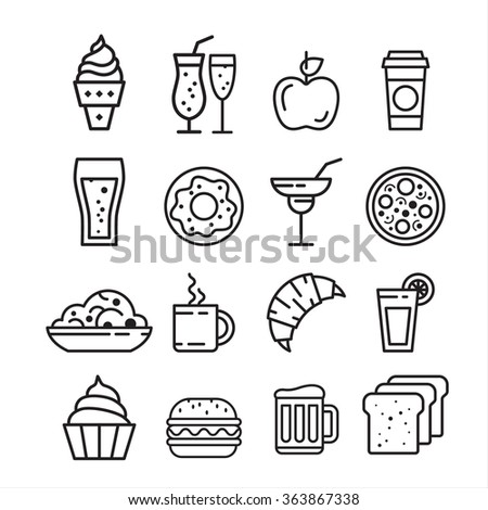 Fast junk food icons set of sandwich hot dog pizza hamburger  isolated vector illustration - stock vector