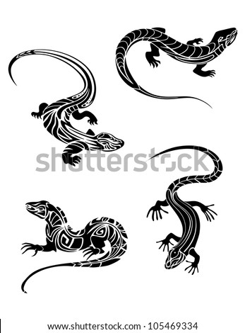 Fast lizards in black color and tribal style for tattoo design, such logo. Jpeg version also available in gallery - stock vector