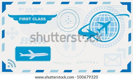 fast mail envelope with elements - stock vector