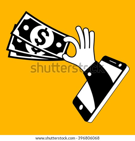 Fast money and mobile equipment in hand. Vector illustration - stock vector