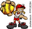 Fast Pitch Softball Girl Cartoon Player with Bat and Ball Vector Illustration - stock vector