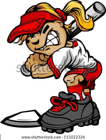 fast pitch softball girl cartoon player stock photo photo vector rh shutterstock com