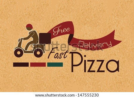 fast pizza over vintage background vector illustration  - stock vector