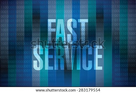 fast service binary message sign concept illustration design over blue