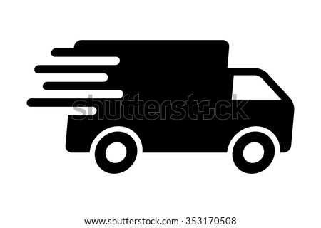 Fast shipping delivery truck flat icon for apps and websites - stock vector