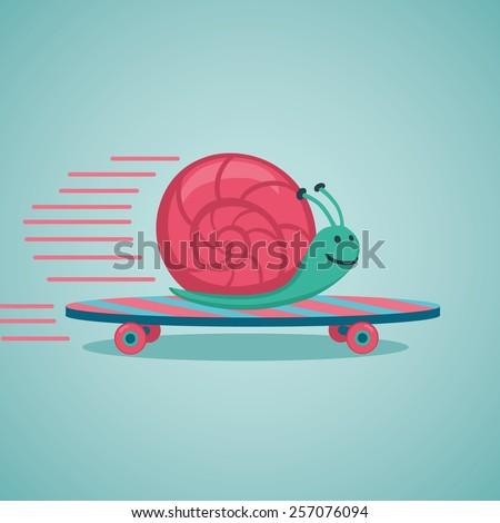 Fast snail. Snail on a skateboard. - stock vector