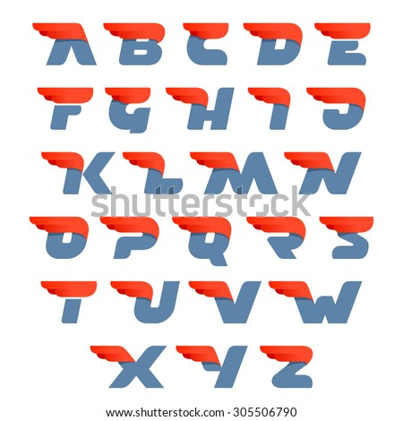 Fast speed english alphabet letters. Second version. Vector design template elements for your application or company. - stock vector