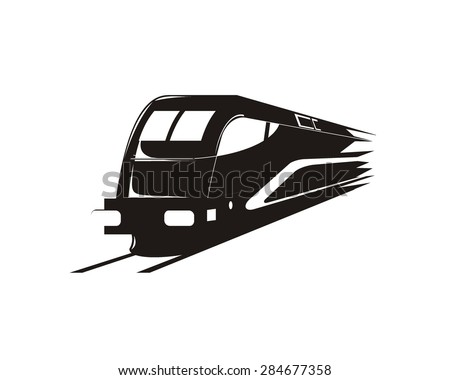 Isolated Monochrome Modern Engraving Style Train Stock ...