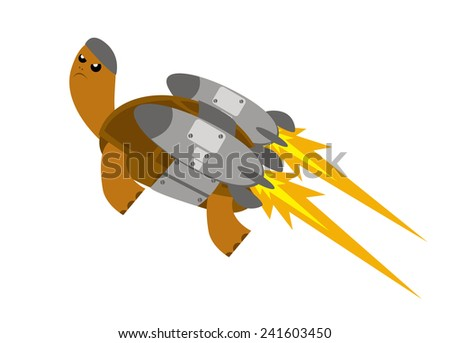 fast turtle - stock vector
