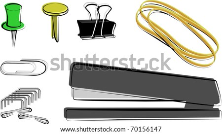 Fasteners: Paper clip, push pin, brad, binder clip, rubber band, stapler and staples - stock vector