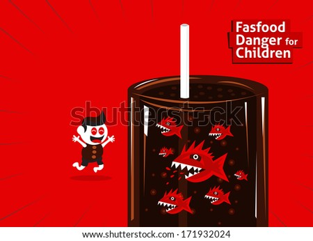 Fastfood danger for children with animal trap to eating - stock vector