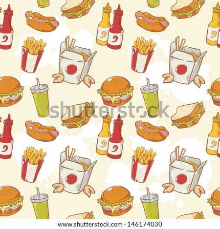 Fastfood delicious hand drawn vector seamless pattern with burger, hot dog and french fries - stock vector
