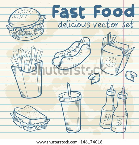 Fastfood delicious hand drawn vector set with burger, hot dog and french fries  on note paper sheet - stock vector