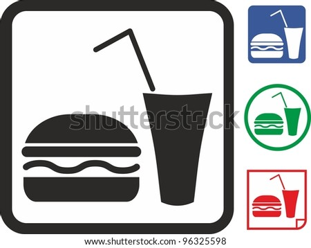 Fastfood. Hamburger and drink vector icon - stock vector