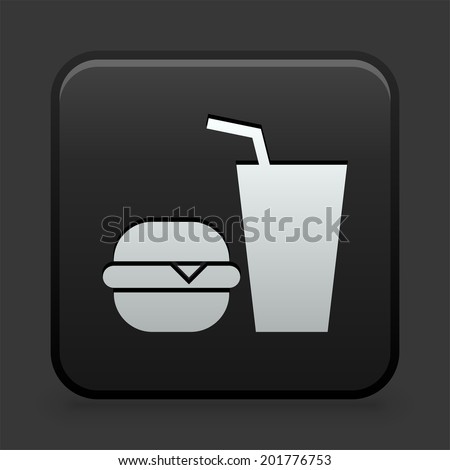 Fastfood Icon on Black and White Button