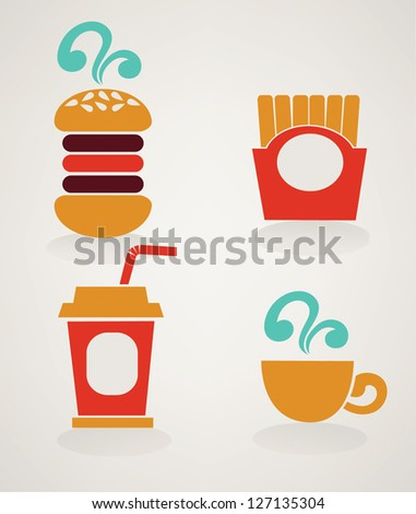 fastfood images in info-graphic style, vector collection - stock vector