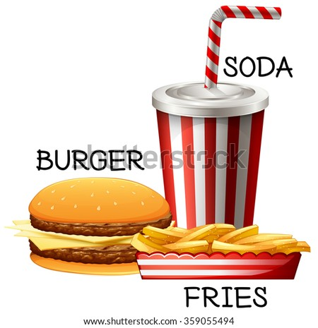 Fastfood set with burger and fries illustration