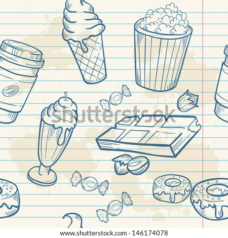 Fastfood sweets delicious hand drawn vector seamless pattern with tasty ice cream, Popcorn and chocolate on notepaper sheet - stock vector
