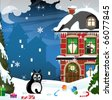 Fat black cat sitting in the snow in the middle of Christmas gifts - stock vector