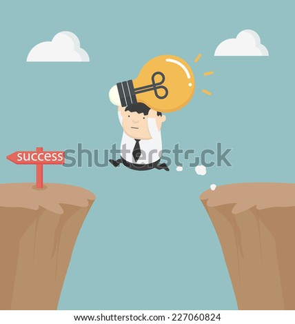 fat businessman holding a light bulb over the cliff - stock vector