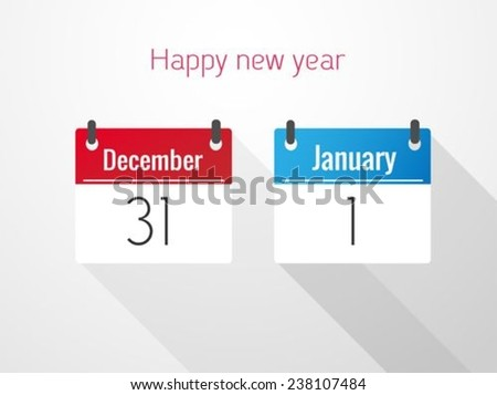 Fat Calendar From December to January - stock vector