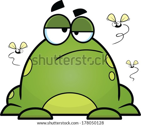 Fat cartoon frog, sitting with a bored expression; flies circling.