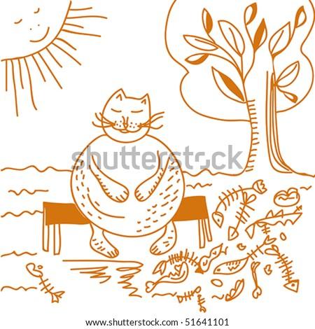 Fat cat after dinner cartoon - stock vector