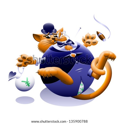 Fat Cat - The corporate or Wall Street fat cat. The millionaire, billionaire big money man banker. Symbol of greed & corruption. Vector contains gradient mesh. - stock vector