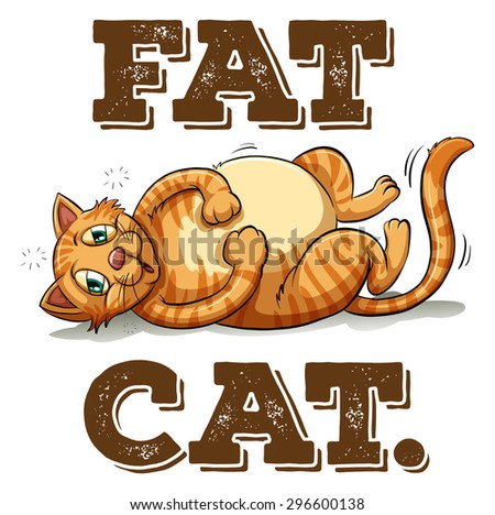 Fat cat with text illustration