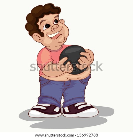 fat curly haired boy holding bawling ball - stock vector