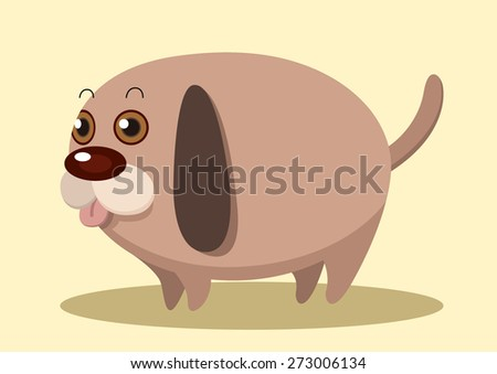 fat dog super cute cartoon vector - stock vector