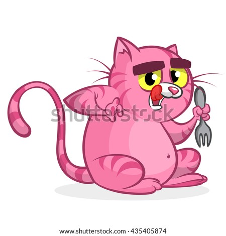Fat funny cat with yellow eyes holding fork.  Vector cartoon cat waiting for food - stock vector
