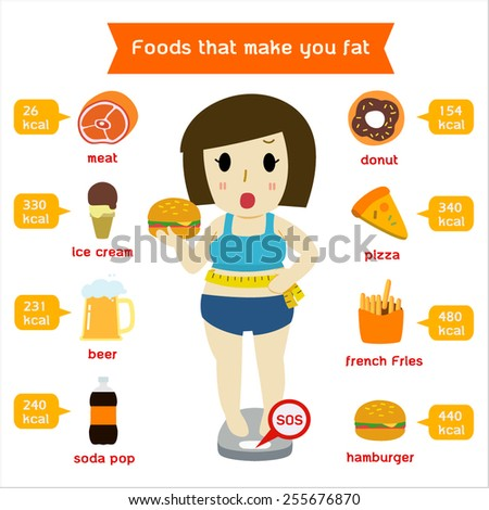 Fat girl standing on the scales considered junk food.infographics - stock vector