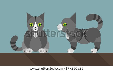 Fat grey cat Simple illustration in the flat style, colors easy to change