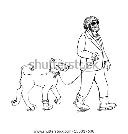 Fat guy with a dog - stock vector