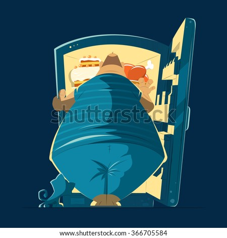Fat hungry man and open night fridge. Color vector illustration. - stock vector