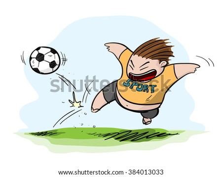 Fat Kid Playing Football/Soccer, a hand drawn vector illustration of a fat kid playing football/soccer (editable).