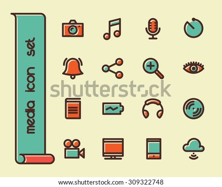 Fat Line Icon set for web and mobile. Modern minimalistic flat design elements of Media Service, Entertainment and Gadgets - stock vector