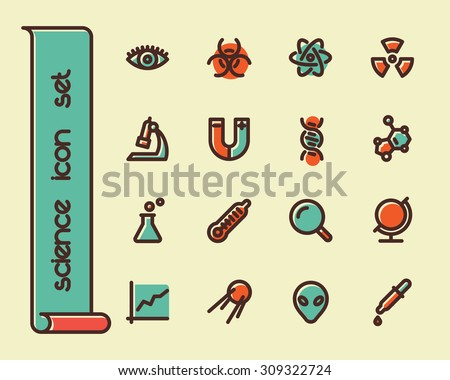 Fat Line Icon set for web and mobile. Modern minimalistic flat design elements of scientific equipment, biotechnology, genome testing, physical and chemistry materials research - stock vector