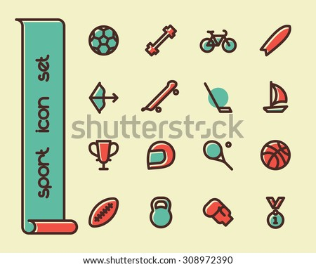 Fat Line Icon set for web and mobile. Modern minimalistic flat design elements of sport equipment, Health and Fitness - stock vector
