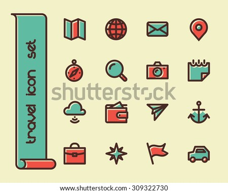 Fat Line Icon set for web and mobile. Modern minimalistic flat design elements of traveling and navigation tools - stock vector