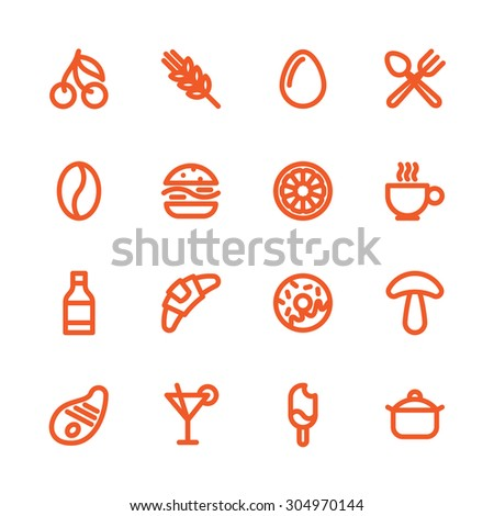 Fat Line Icon set for web and mobile. Modern minimalistic flat design elements of various meals, drinks, ingredients and kitchen utensils - stock vector