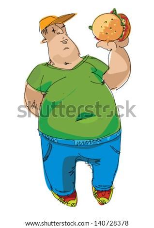 fat man eating hamburger - cartoon - stock vector