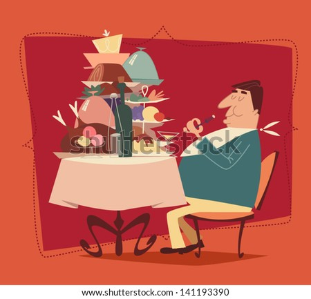 Fat man eating in a restaurant. Retro style vector illustration - stock vector