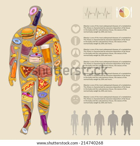 Fat man, fast food. Infographic vector - stock vector