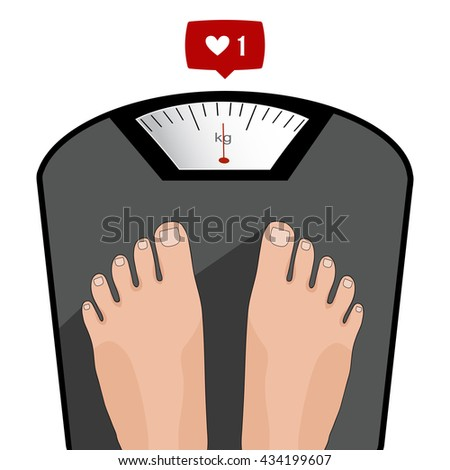 Fat man or woman standing on weight scale with heavy weight, vector. Concept of weight loss, healthy lifestyles, diet, proper nutrition.