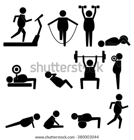 Fat Man Stick Figure Body Exercise Icon Symbol Sign Pictogram