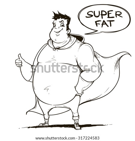 Fat man super hero. Black and white. Handcrafted style.