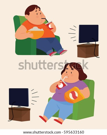 fat people watching television stock vector royalty free 595633160 rh shutterstock com Fat Guy Cartoon Fat Cartoon Characters