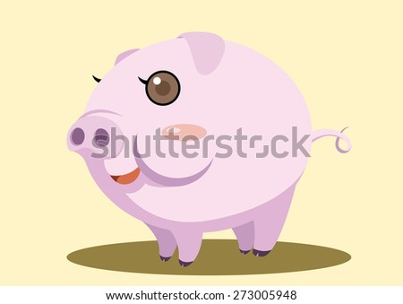 fat pig super cute cartoon vector - stock vector